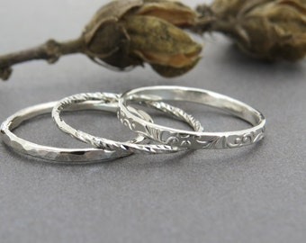 Stacking ring set, unique silver ring set, thin stacking rings, stackable ring set, delicate silver stacking ring set, everyday ring, gift.