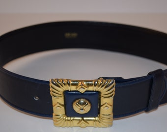 Vintage Escada Navy Leather Belt with Gold Tone Frame-Style Buckle, Designer Statement Belt