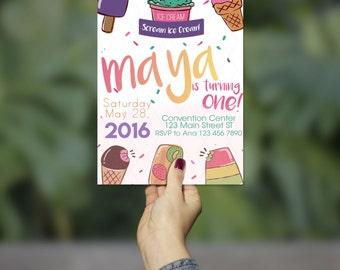 Colorful Ice Cream Birthday Invitation