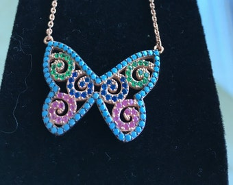 Multicolor Butterfly Necklace