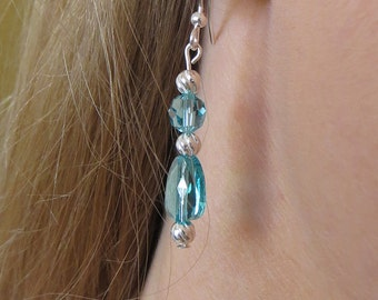 Turquoise Crystal and Silver Drop Earrings, SE-112
