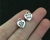 Bulk 50 Love My Dog Heart Charms Pet Charm Antique Silver Dog Pendant Bracelet Necklace Animal Wine Charm Keychain Charm (YT7277)