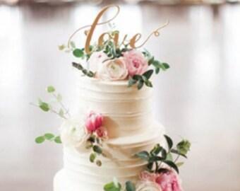 Love Cake Topper Gold