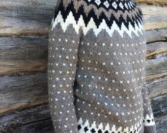 Icelandic sweater. Lopapeysa. Handmade.Handknitted Icelandic Fair Isle sweater, Lopapeysa for women, grayish-brown sweater