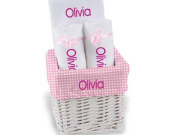 Personalized Baby Gift Basket, Baby Girl Gift Basket - Bib, 2 Burp Cloths - Small(A)