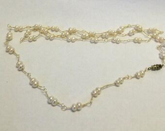 Vintage 18k gold filled pearl necklace, Vintage Pearl Necklace, Vintage Jewelry