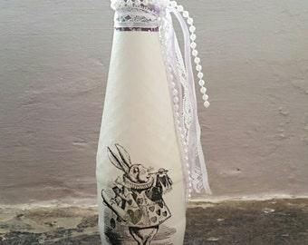 Alice In Wonderland, Decorative bottle, Girls Decor, Shabby chic décor, Vintage Décor, Wedding Gift, Wedding Décor, Handmade Gift