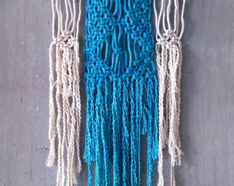 Macrame Colorful Modern Wall Hanging/ Hand dyed Wall Art/ Turquoise Pink Blue and Cream Wall Decor/ Tapestry/ Unusual Gift/ Coastal