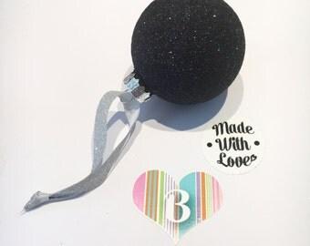 Christmas Glass Bauble, Black Glitter, Handmade