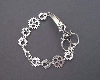 Scissor Gear Bracelet, Steampunk Jewelry, Hair Stylist Gift For Her, Scissor Jewelry, Cute Shear Charm, Hairdresser, Cog, Antique Silver