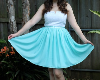 White Leaves and Mint Chiffon Formal Dress