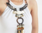 Long Statement Necklace, Bohemian Jewelry, Horn Necklace, Chunky Statement Necklace, Big Necklace, Bohemian Necklace, Statement Necklace