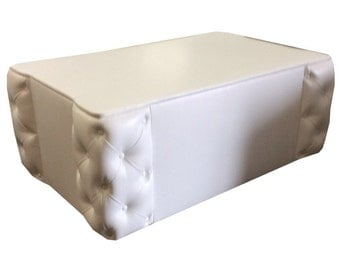 White Recycled Leather Ottoman