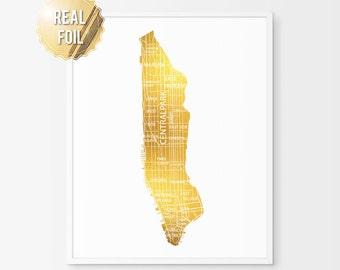 Manhattan Map Art Print - Real Gold Foil Print - Manhattan Print - Manhattan Art Print - Manhattan Poster - Manhattan Gift - New York Art