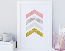 Printable chevron print, gold wall art print, watercolor print, wood texture print, printable chevron wall, modern geometrical print, shabby