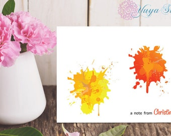 Personalized Stationery / Color splash Custom Stationery / Custom Stationery Set / Custom art notes/ Set of 12 note paint cards