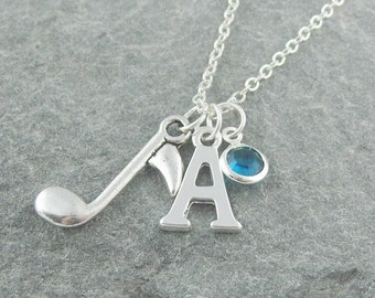 Music note necklace, silver musical note, musician gift, initial necklace, swarovski birthstone, music jewelry, personalized jewelry