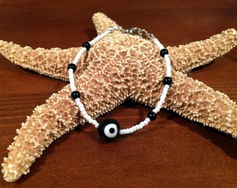 Black Evil Eye Bead Bracelet