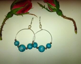 Sterling Silver Turquoise Hoop Earrings