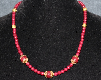 Red Ruby and Gold Necklace