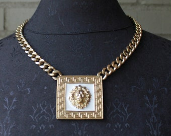 1970s Vintage Gold Lion Necklace - 70s  Costume Jewelry