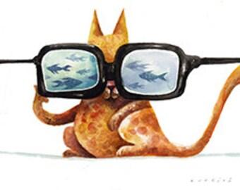 The cat with glasses/The cat with glasses