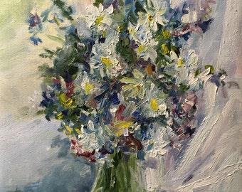 Original painting.Bouquet in blue size 23/30 см.