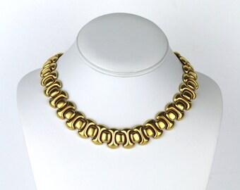 Vintage MONET Brushed Gold Tone Choker Necklace