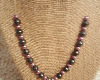 Pink and grey pearl necklace with heart pendant and toggle clasp