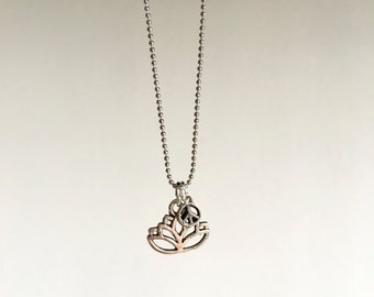 SALE - Lotus - Silver ball chain necklace - Discounted price - trend