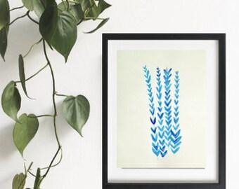 Watercolour fern, botanical painting, ORIGINAL watercolour painting, modern art, vintage fern painting, blue fern art, fern painting
