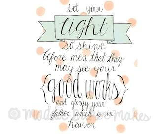 Let Your Light Shine Matthew 5:16 Scripture Card Chalkboard
