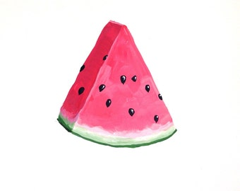 Wonderful Watermelon, Watermelon Art,  Summer Fruit, Picnic Art, Pink and Green, Art Print Painting 5x7