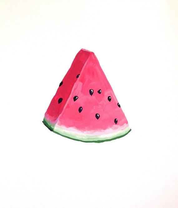 Wonderful Watermelon, Watermelon Art,  Summer Fruit, Picnic Art, Pink and Green, Art Print Painting 5x7