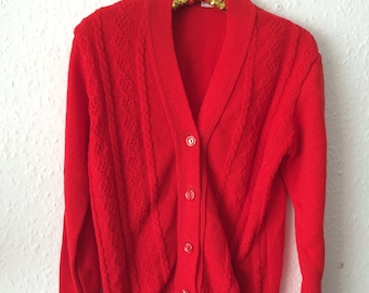 Vintage Kids 1970s Red Cardigan - Age 5 to 6 years
