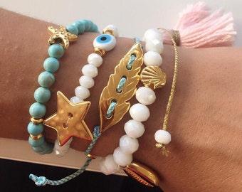 Turquoise Bracelets, Evil Eye Bracelet, Turquoise Beaded Bracelet. Women's Bracelet, White Bracelet, Tassel Bracelet, Leaf Bracelet