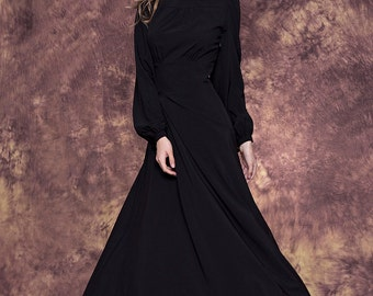 Elegant black maxi dress with full lenght sleeves/ Long black bridesmaid dress/ Black evening formal dress/ Black dress/ Black party dress