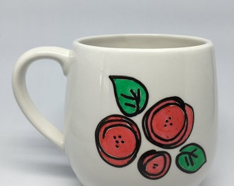 Red Flower, poppy handpainted mug