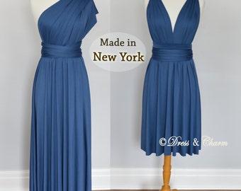 Midnight Blue infinity dress, Bridesmaid dress, infinity convertible maxi dress, short multiway dress, party dress, dress for bridesmaid