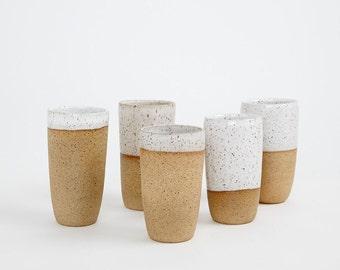 Set of 5  Wheel thrown Ceramic Tumblers