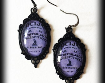 Gothic Earrings - Purple Ouija Board - Glass Cameo - Wicca - Witch - Seance