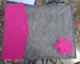 Handmade iPad Tablet Reader Cover Case Pink/Grey Felt with 3D Flower Decoration