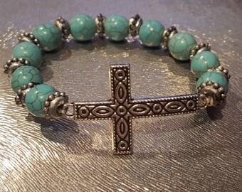 Teal Cross Beaded Bracelet