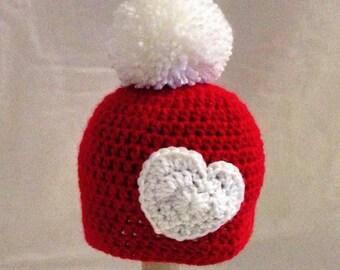 pompom beanie, newborn hat, winter hat, baby hat Red White