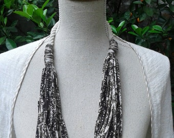Handmade fabric necklace, T02 Two color Fabric Necklace.  Fabric jewelry.
