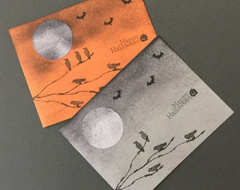 Handmade Greeting Card-Full Moon Halloween Cards (set of 2), Notecards
