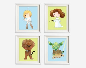 Star Wars wall art - star wars nursery art - kids wall art - Nursery Decor - star wars beddroom decor - starwars wall prints