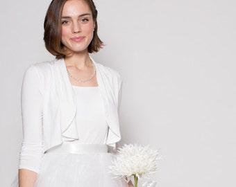 White Shrug Bolero  Packable Cardigan Kate Poppet