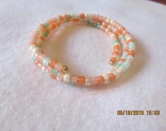 0044-Peach & Aqua Memory Wire Bracelet