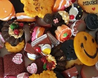 50 pcs. mixed Lot Food Sweet Treats Kawaii Flatback Resin Cabochons.